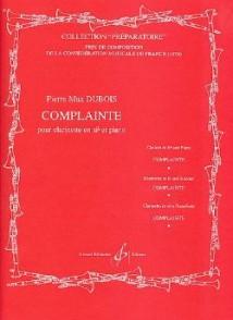 DUBOIS P.M. COMPLAINTE CLARINETTE