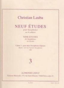 LAUBA C. NEUF ETUDES CAHIER 3 SAXOPHONES SOPRANO