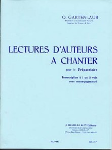 GARTENLAUB O. LECTURES D'AUTEURS A CHANTER