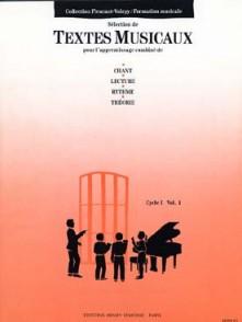 FLEURANT M./VOIRPY A. TEXTES MUSICAUX CYCLE 1 VOL 1