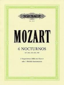 MOZART W.A. 6 NOCTURNES 3 VOIX PIANO