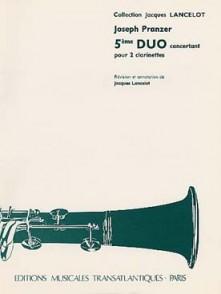 PRANZER J. 5ME DUO CONCERTANT 2 CLARINETTES