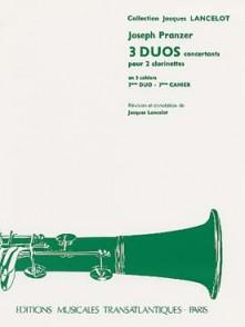 PRANZER J. TROIS DUOS CONCERTANTS CAHIER 3 2 CLARINETTES