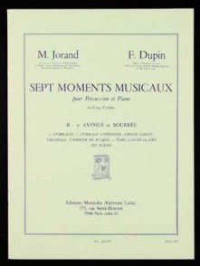 JORAND M./DUPIN F. 7 MOMENTS MUSICAUX N°2 PERCUSSION