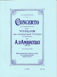 D'AMBROSIO A. CONCERTO OP 29 SI MINEUR  VIOLON