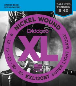 JEU DE CORDES D'ADDARIO EXL120BT FILE ROND SUPER LIGHT 09/40