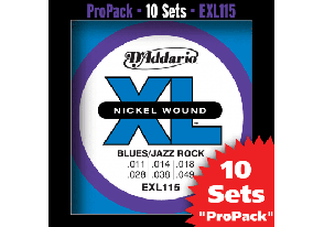 PACK DE 10 JEUX DE CORDES D'ADDARIO REGULAR 10 JEUX BLUES-JAZZ-ROCK EXL115-10P
