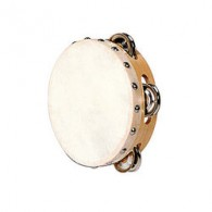 TAMBOURIN PEAU NATURELLE AVEC CYMBALETTES