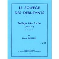 CLASSENS H. LE SOLFEGE DES DEBUTANTS VOL 2