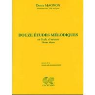 MAGNON D. 12 ETUDES MELODIQUES NIV. MOYEN PIANO