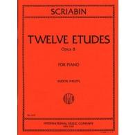 SCRIABINE A. 12 ETUDES OP 8 PIANO