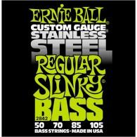 JEU DE CORDES BASSE ERNIE BALL 2842 CUSTOM GAUGE STAINLESS STEEL REGULAR SLINKY BASS 50-105