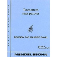MENDELSSOHN F. ROMANCES SANS PAROLES VOL 5 PIANO