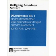 MOZART W.A. DIVERTIMENTO KV ANH 229 N°1 CLARINETTES
