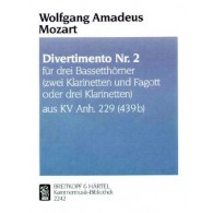 MOZART W.A. DIVERTIMENTO KV ANH 229 N°2 CLARINETTES