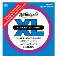 JEU DE CORDES D'ADDARIO REGULAR SUPER LIGHT / DOUBLE BOULE ESXL120