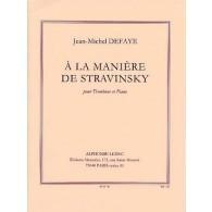 DEFAYE J.M. A LA MANIERE DE STRAVINSKY TROMBONE