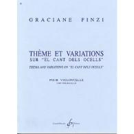 """FINZI G. THEME ET VARIATIONS SUR """"EL CANT DELS OCELLS""""  VIOLONCELLE SOLO"""