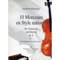 GRUTZMACHER F. MORCEAUX EN STYLE  NATIONAL VOL 1 VIOLONCELLE