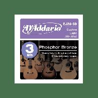 PACK DE 3 JEUX DE CORDES ACOUSTIQUES D'ADDARIO EJ26-3D PHOSPHORE BRONZE 11/52
