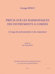 BOEUF G. PRECIS SUR LES HARMONIQUES DES INSTRUMENTS A CORDES