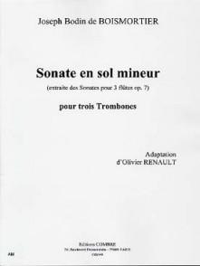 BODIN DE BOISMORTIER J. SONATE SOL MINEUR TROMBONES