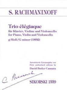 RACHMANINOFF S. TRIO ELEGIAQUE VIOLON VIOLONCELLE PIANO