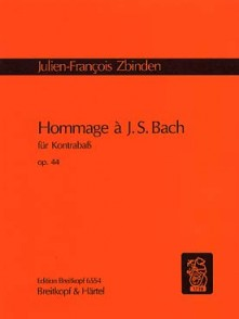 ZBINDEN J.F. HOMMAGE A BACH OP 44 CONTREBASSE SOLO