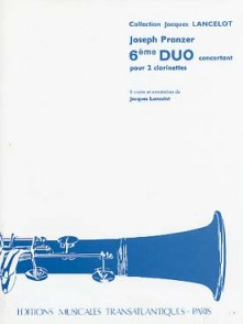 PRANZER J. 6ME DUO CONCERTANT 2 CLARINETTES
