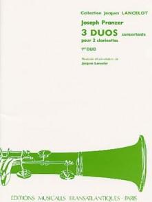 PRANZER J. TROIS DUOS CONCERTANTS CAHIER 1 CLARINETTES