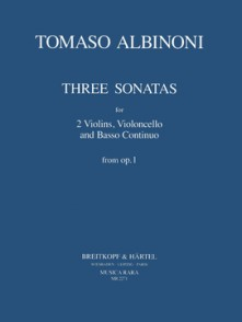 ALBINONI T. SONATE A TRE OP 1 VOL 3 2 VIOLONS, VIOLONCELLE, BC