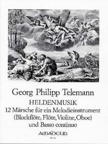 TELEMANN G.P. MARCHES HELDENMUSIK FLUTE A BEC ALTO