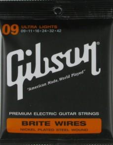 JEU DE CORDES GUITARE ELECTRIQUE GIBSON BRITE WIRES SEG-700UL 009.042