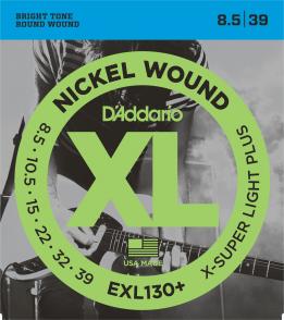 JEU DE CORDES D'ADDARIO EXL130PLUS FILE ROND EXTRA SUPER LIGHT 8.5/39