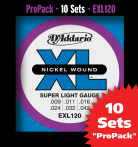 PACK DE 10 JEUX DE CORDES D'ADDARIO REGULAR 10 JEUX SUPER LIGHT EXL120-10