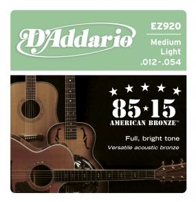 JEU DE CORDES ACOUSTIQUE D'ADDARIO EZ920 BRONZE 12/54