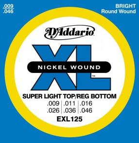 JEU DE CORDES D'ADDARIO EXL125 SUPER LIGHT TOP/REG BOTTOM 9/46