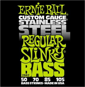 JEU DE CORDES BASSE ERNIE BALL 2842 CUSTOM GAUGE STAINLESS STEEL REGULAR SLINKY BASS 50-105