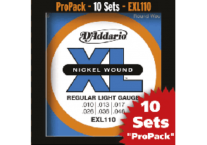 PACK DE 10 JEUX DE CORDES D'ADDARIO REGULAR 10 JEUX LIGHT EXL110-10P