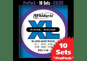 PACK DE 10 JEUX DE CORDES D'ADDARIO REGULAR 10 JEUX BLUES-JAZZ-ROCK EXL115-10P