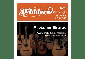 JEU DE CORDES ACOUSTIQUE D'ADDARIO EJ41 PHOSPHORE BRONZE  12 CORDES