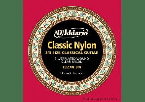 JEU DE CORDES CLASSIQUE D'ADDARIO EJ27N-3-4 NYLON CLASSICS