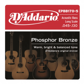 JEU DE CORDES BASSE D'ADDARIO EPBB170-5 PHOSPHOR BRONZE