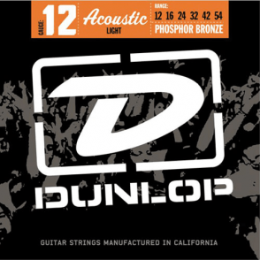 JEU DE CORDES ACOUSTIQUE DUNLOP STRINGS DAP1254 PHOSPHOR BRONZE 12/54