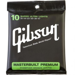 JEU DE CORDES ACOUSTIQUE GIBSON SAG-MB10 10/47 MASTERBUILT PREMIUM SUPER ULTRA LIGHT