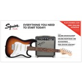 PACK SQUIER AFFINITY SERIES STRATOCASTER SSS BROWN SUNBURST