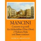 MANCINI F. CONCERTO XIV SOL MINEUR QUINTETTE FLUTE A BEC ALTO ET CORDES