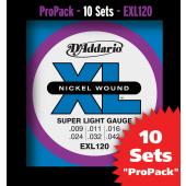 PACK DE 10 JEUX DE CORDES D'ADDARIO REGULAR 10 JEUX SUPER LIGHT EXL120-10