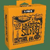PACK DE 3 JEUX DE CORDES ERNIE BALL 3222 HYBRID SLINKY 09-46