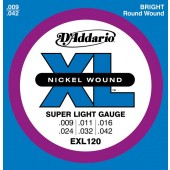 JEU DE CORDES D'ADDARIO EXL120 SUPER LIGHT 9/42